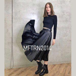 LAST ONE!!! ZARA Faux Leather Pleated Midi Skirt
